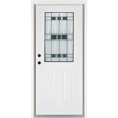 36 in. x 80 in. Savana Smooth White Right-Hand Inswing 1/2 Lite Decorative Fiberglass Prehung Front Door