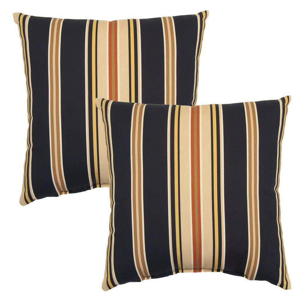 hampton bay charcoal stripe square outdoor throw pillow 2 pack 7050 02225800 the home depot. Black Bedroom Furniture Sets. Home Design Ideas