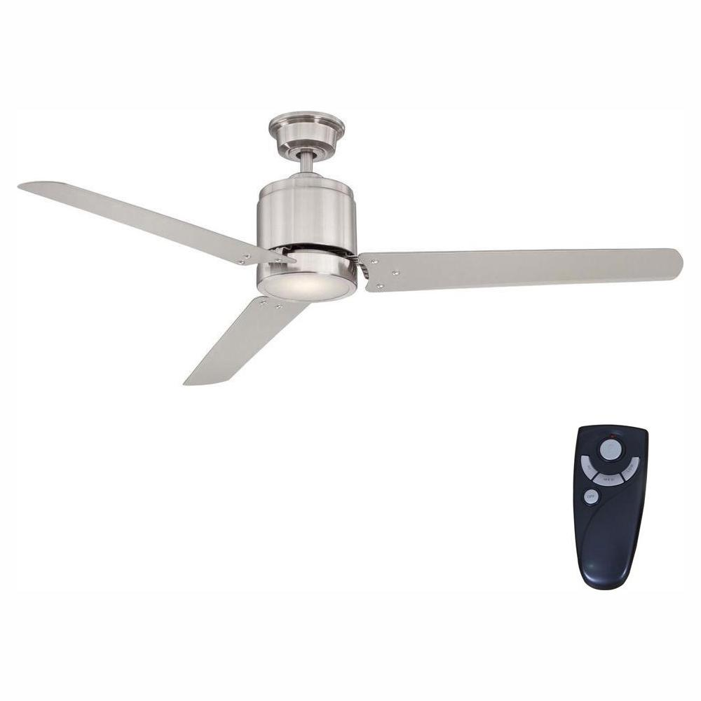 Home Decorators Collection Railey 60 In Led Indoor Brushed Nickel Ceiling Fan With Light Kit And Remote Control Yg446 Bn The Home Depot