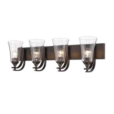 Natalie 4-Light 32 in. Wide Rubbed Bronze Bathroom Vanity Light