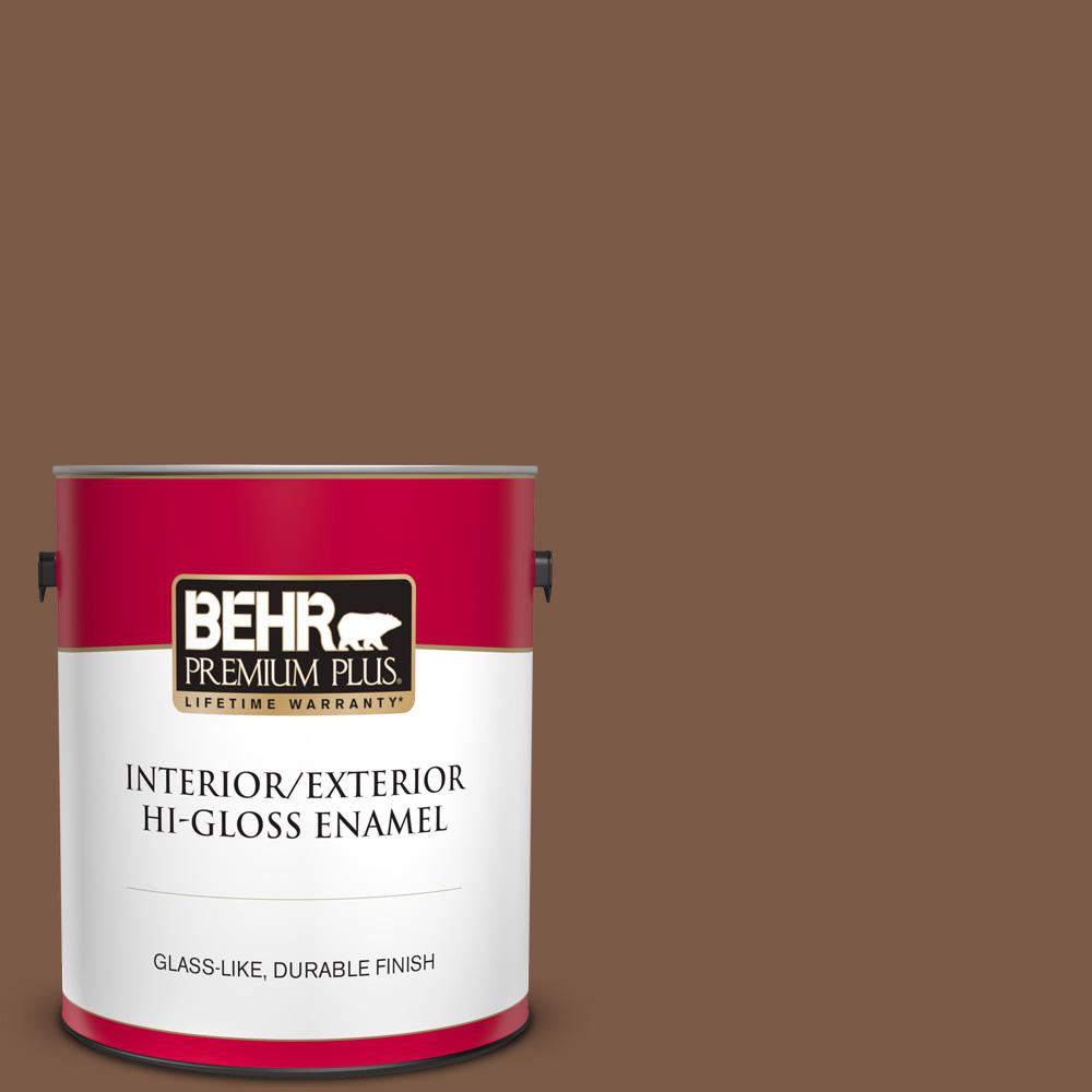Behr Premium Plus 1 Gal Bxc 65 Outback Brown Hi Gloss Enamel Interior Exterior Paint 830001 The Home Depot