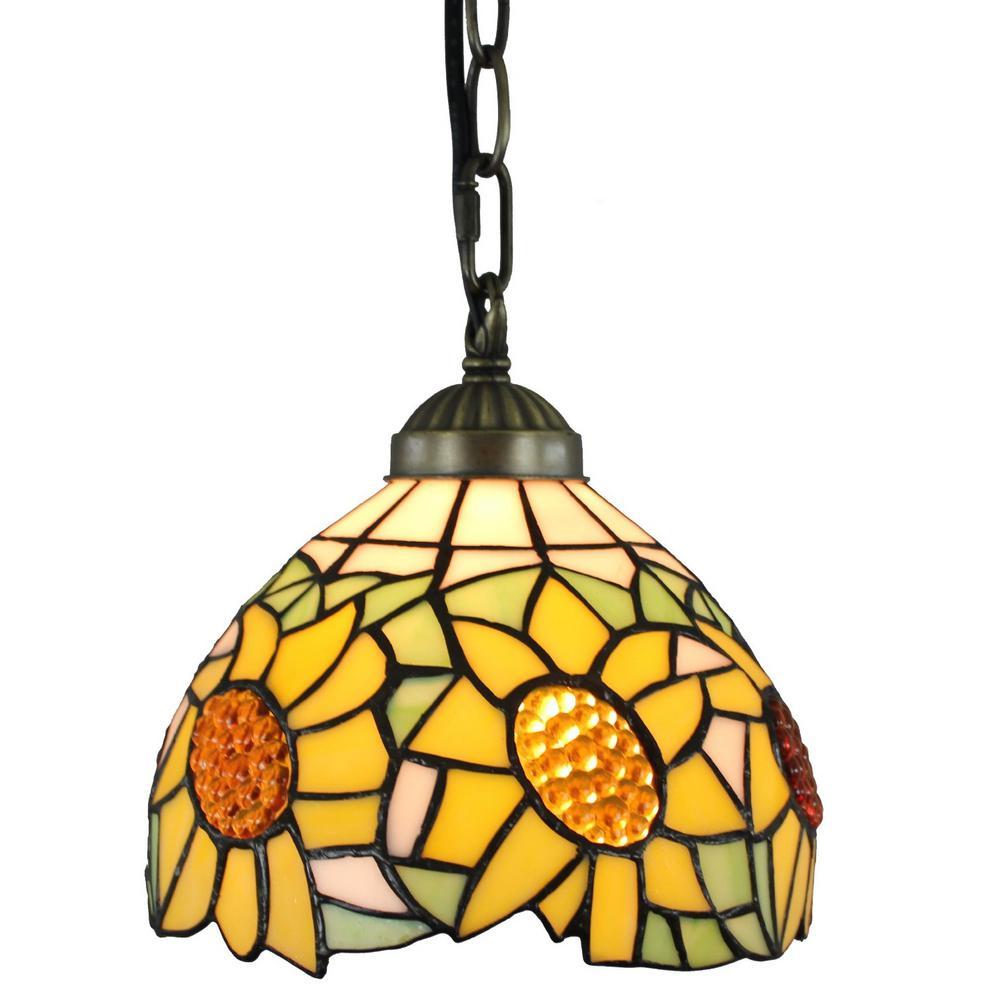 Tiffany Style 1-Light Sunflower Pendant Lamp 8 in. Wide