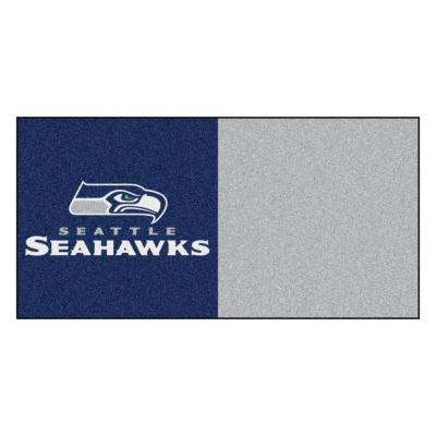 NFL - Seattle Seahawks Navy and Grey Nylon 18 in. x 18 in. Carpet Tile (20 Tiles/Case)