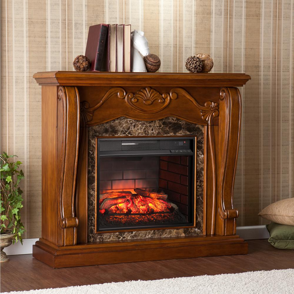 Montgomery 45.25 in. W Infrared Electric Fireplace in Walnut