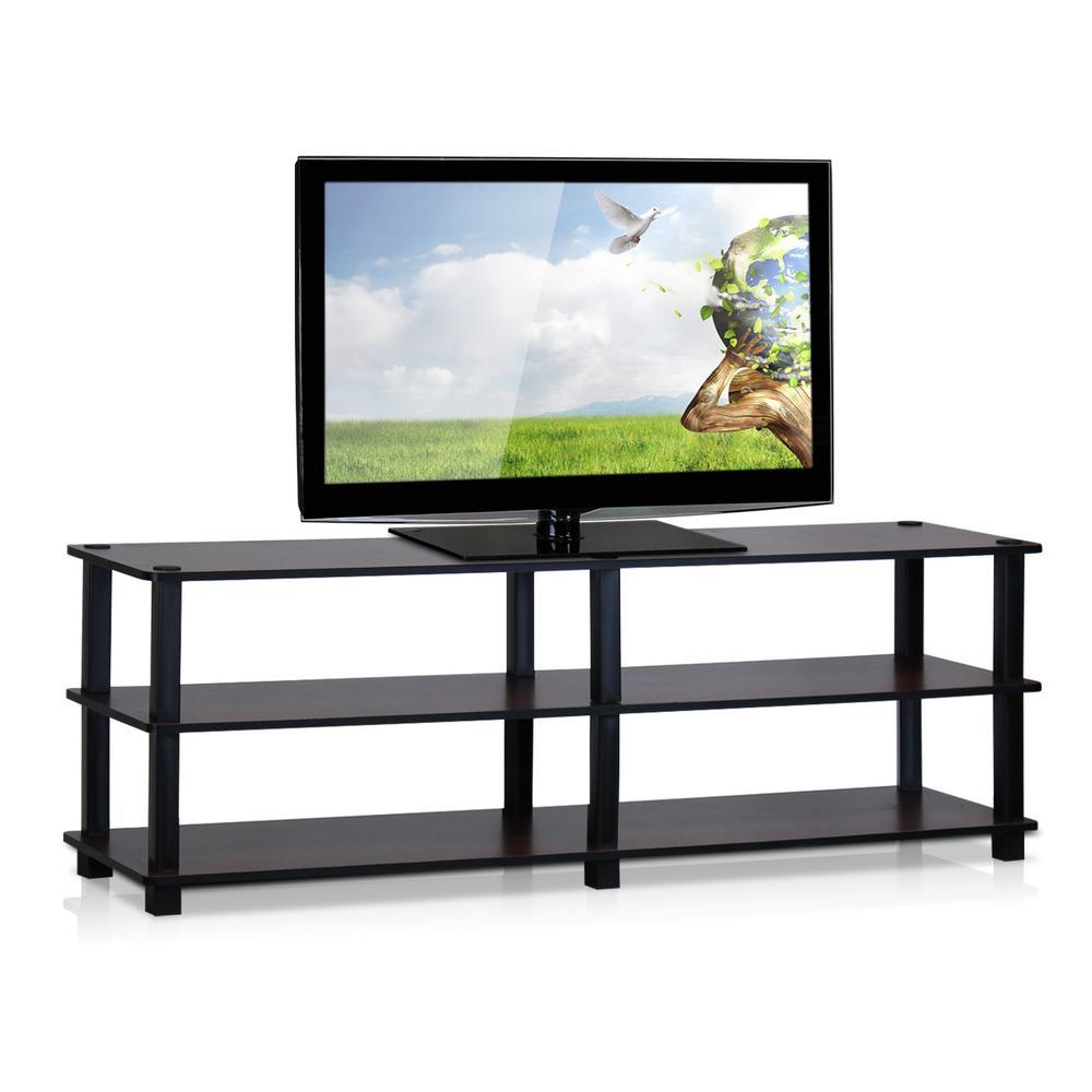 Furinno Turn-S-Tube Dark Cherry 3-Shelf TV Stand TV14038DC/BK