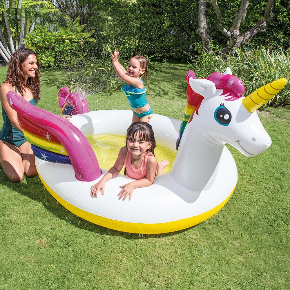 Intex 107 in x 76 in round 8 in unicorn spray pool for Plastik pool rund