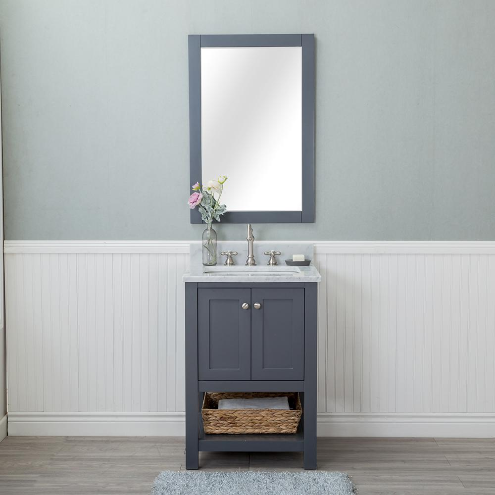 Alya Bath Wilmington 24 in. W x 22 in. D Vanity in Gray with Marble Vanity Top in White with White Basin and Mirror
