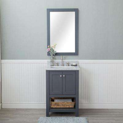 Wilmington 24 in. W x 22 in. D Vanity in Gray with Marble Vanity Top in White with White Basin and Mirror