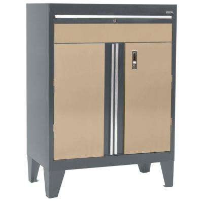 30 in. W x 18 in. D x 43 in. H Modular Steel Base Cabinet with Drawer, Full Pull in Charcoal/Tropic Sand