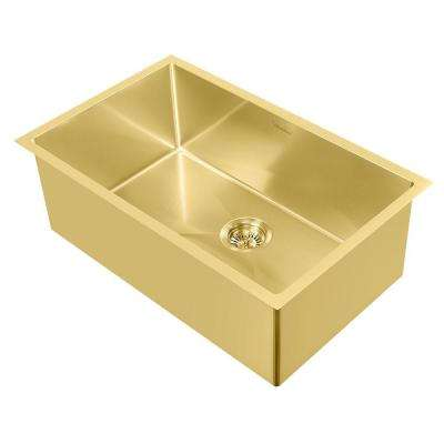 Noah Plus Dual Mount Stainless Steel 29 in. Single Bowl Kitchen Sink in Brass Sink Kit