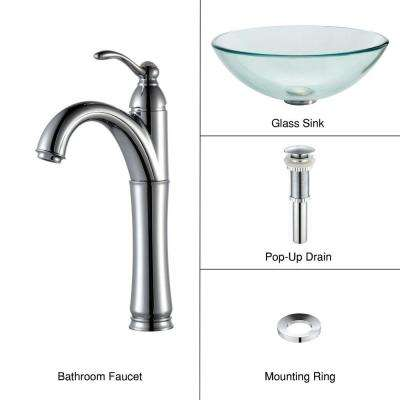 Glass Vessel Sink in Clear with Riviera Faucet in Chrome