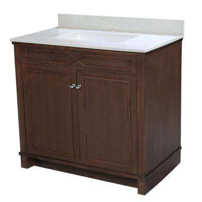 Bombay 36.5 in. W x 22 in. D Vanity in American Walnut with Quartz Vanity Top in White with White Basin