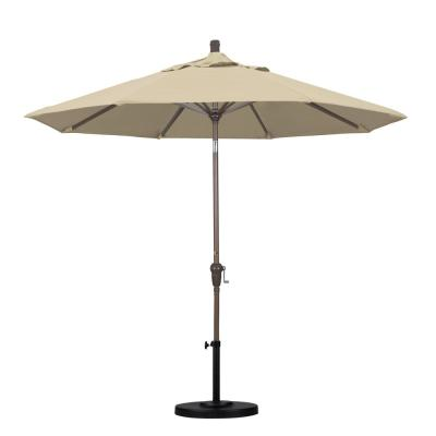 California Umbrella 9 ft. Champange Aluminum Pole Market Aluminum Ribs Auto Tilt Crank Lift Patio Umbrella in Antique Beige...