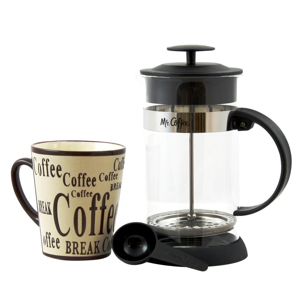 Caf Oasis 2-Piece 32 oz. Coffee Press and 13 oz. Mug Glass Coffee Press and Mug Gift Set