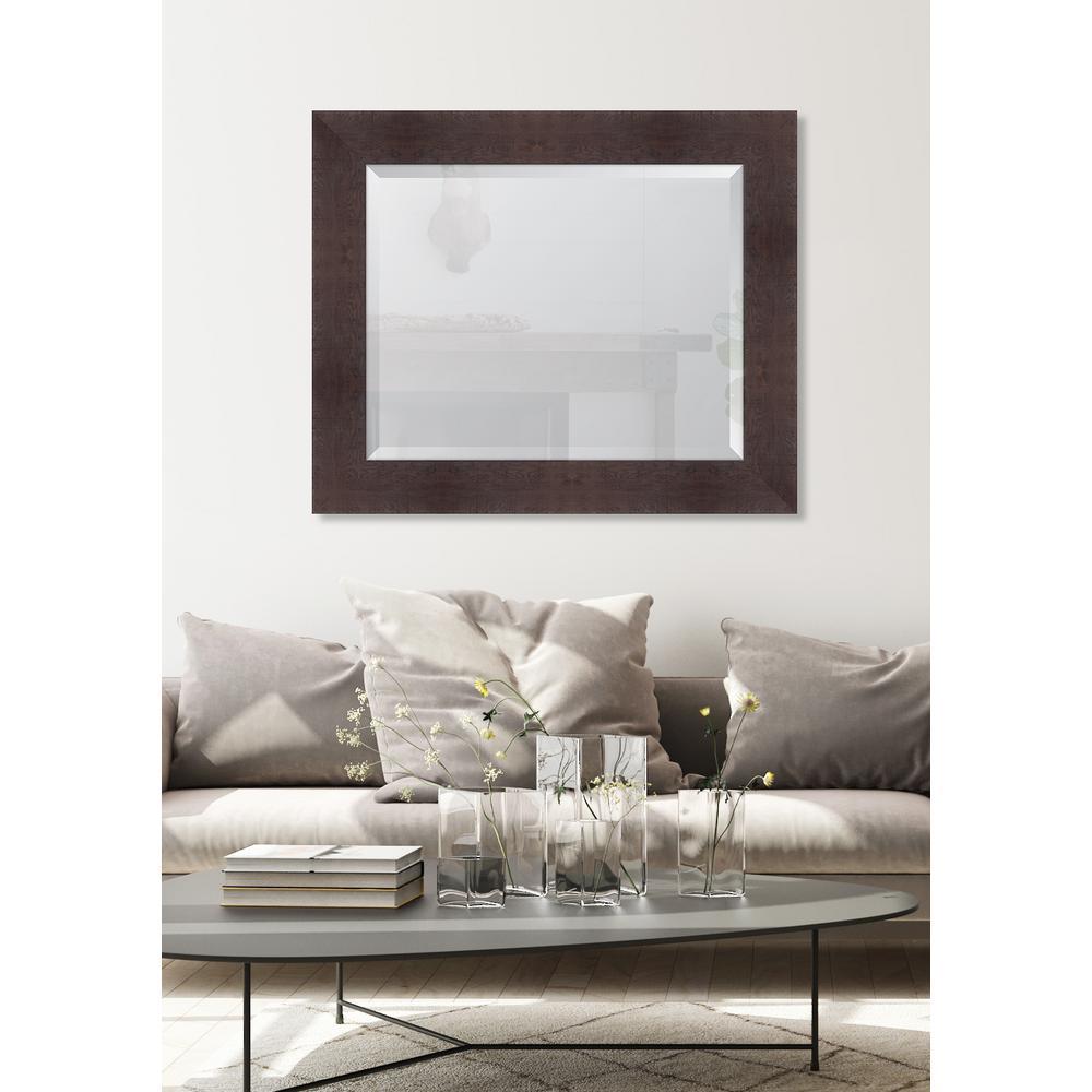 Medium Rectangle Walnut Beveled Glass Casual Mirror (36 in. H x 30 in. W)
