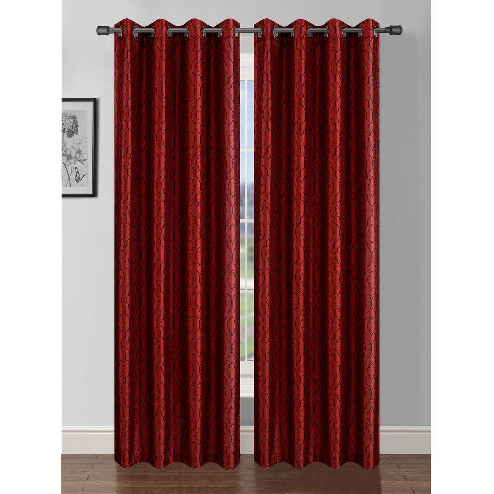 Window Elements Semi-Opaque Jasper Printed Faux Silk 84 in. L Grommet Curtain Panel Pair, Burgundy/Black (Set of 2)