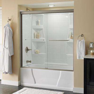 Simplicity 60 in. x 58-1/8 in. Semi-Frameless Sliding Bathtub Door in Nickel with Clear Glass