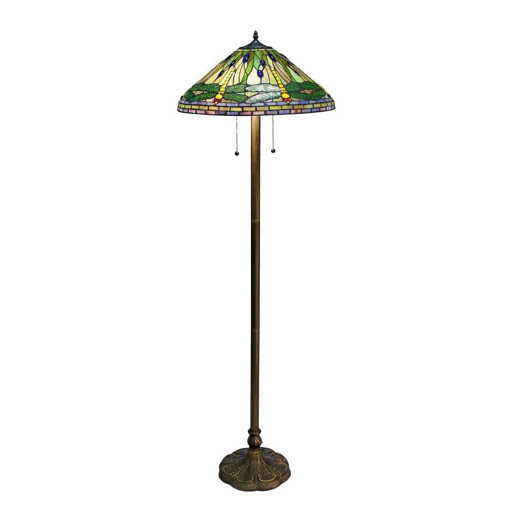 Tiffany Dragonfly 60 in. Green Bronze Floor Lamp