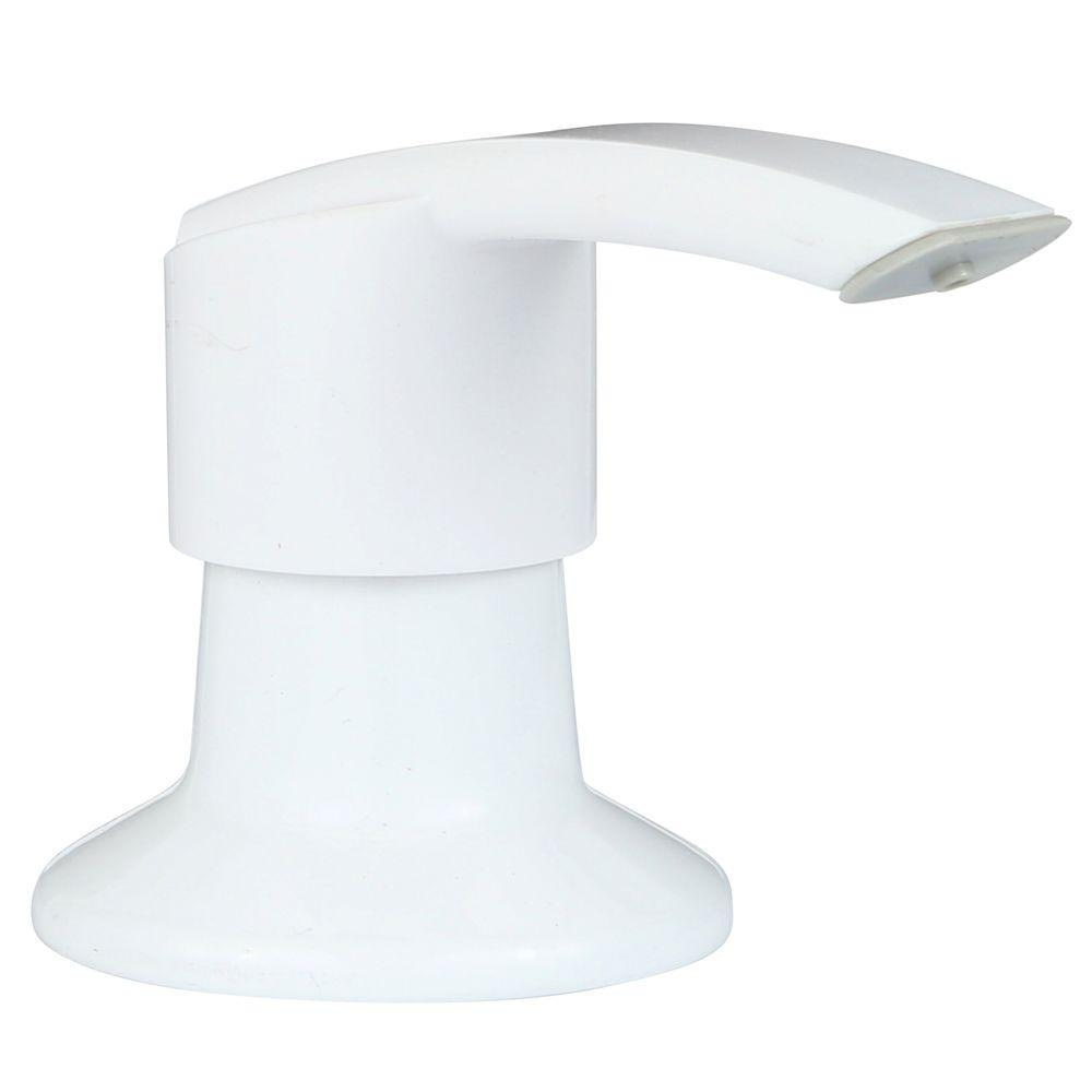Pfister Kitchen Soap Dispenser in White The Pfister Kitchen Soap Dispenser in White features a 16 oz. capacity and easy, above-counter refilling. This dispenser has an anti-residue design that resists soap or lotion build-up.
