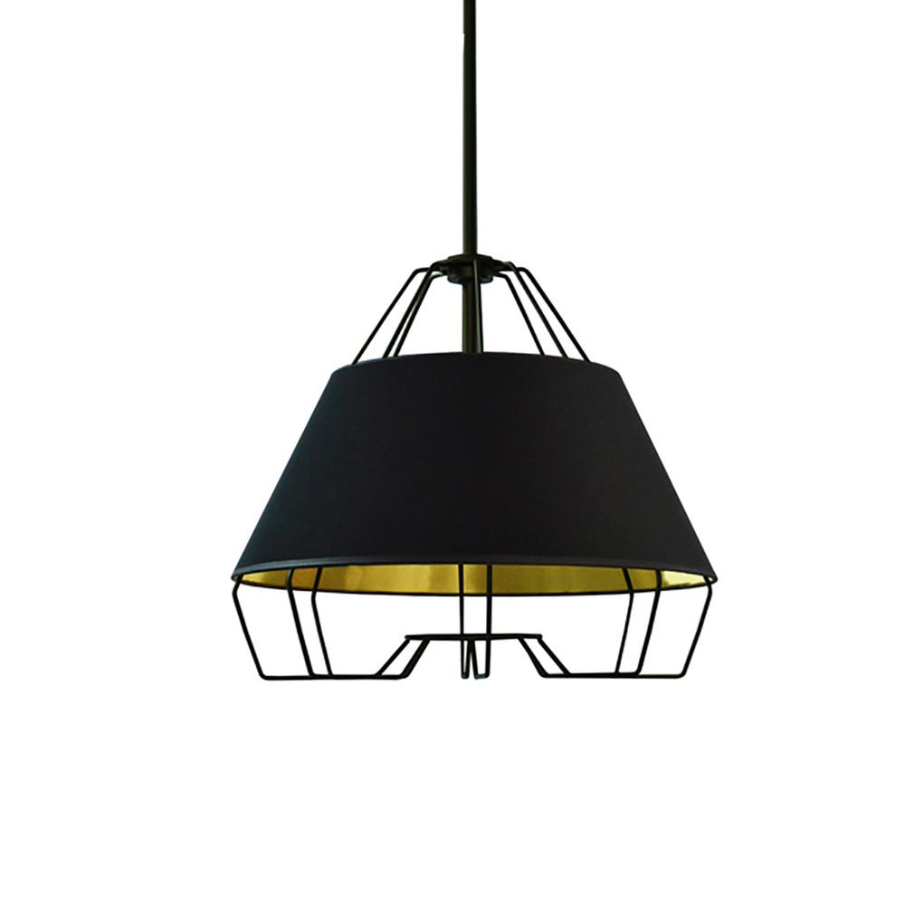 1-Light Black and Gold Pendant with Painted Steel Shade