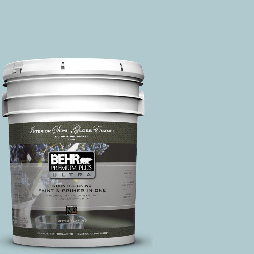 5-gal. #HDC-SM14-8 Floating Blue Semi-Gloss Enamel Interior Paint