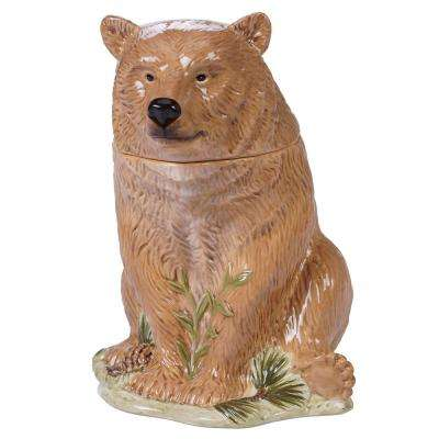 Mountain Retreat Multi-Colored 11.75 in. 3-D Bear Cookie Jar