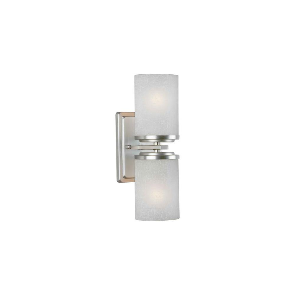 Talista Liam 2-Light Brushed Nickel Sconce with White Linen Glass