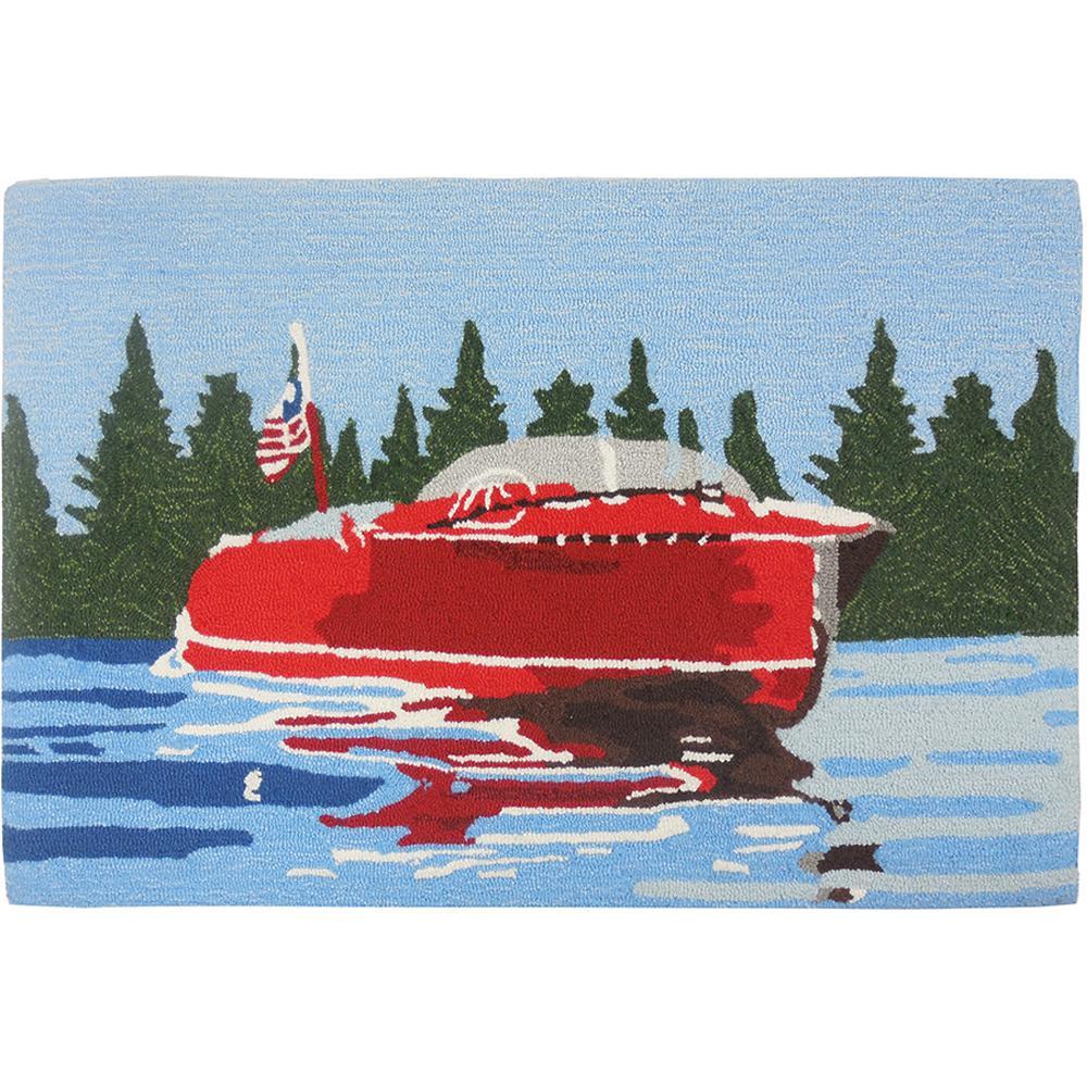 Vintage Motor Boat Multi 1 ft. 10 in. x 2 ft. 10 in. Accent Rug