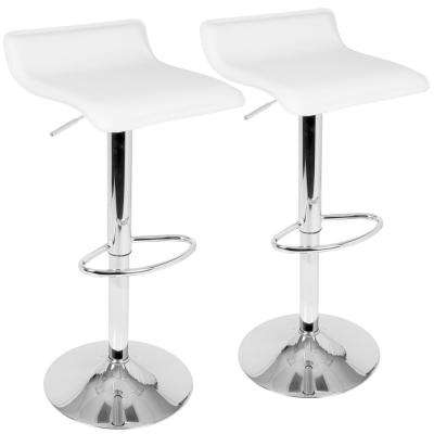 Ale White Adjustable Height Bar Stool (Set of 2)