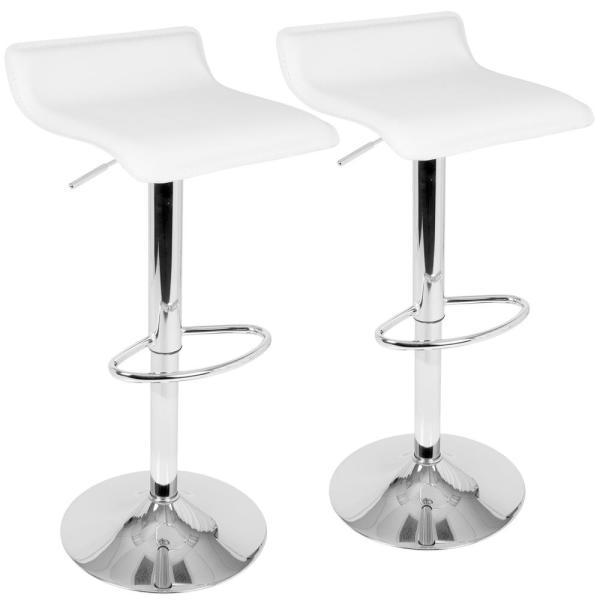 Lumisource Ale White Adjustable Height Bar Stool (Set of 2) BS-ALE