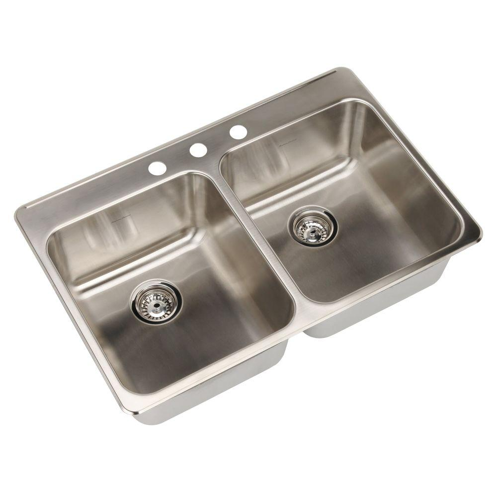 American Standard Prevoir Drop-In Brushed Stainless Steel 33 in. 3-Hole Double Bowl Kitchen Sink Kit