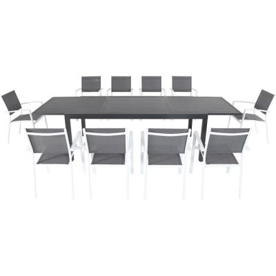 Nova 11-Piece Aluminum Outdoor Dining Set with 10-Sling Chairs in Gray/White 40 in. x 118 in. Expandable Dining Table