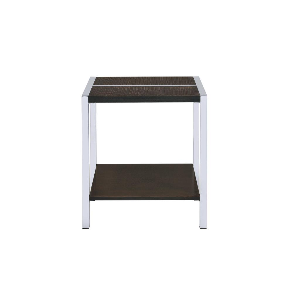 Jethro Chrome and Brown End Table