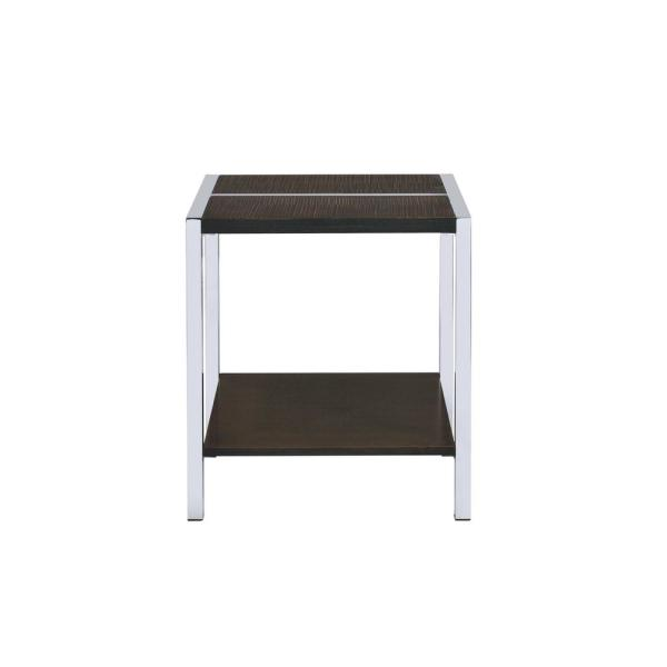 Acme Furniture Jethro Chrome and Brown End Table 84647