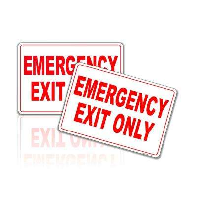 7 in. x 10 in. Emergency Exit Only Sign Stickers Reflective (2-Pack )