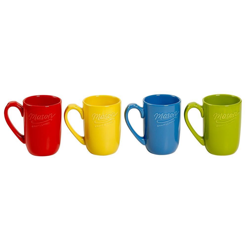 Drinkware 18 oz. Assorted Ceramic Mugs (Set of 4)