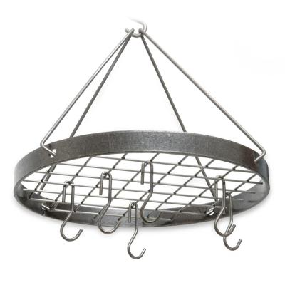 Handcrafted Cottage Round Rack with 6 Hooks Hammered Steel