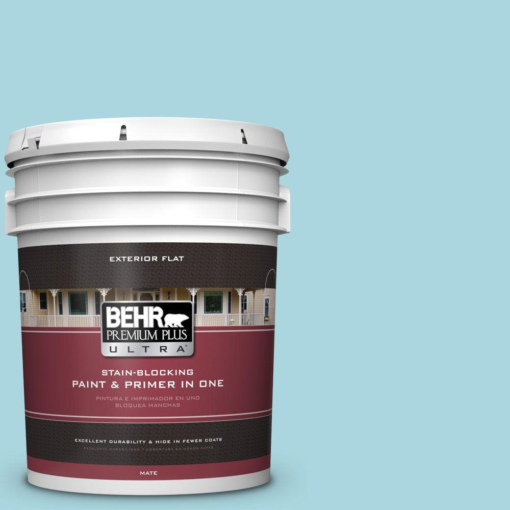 BEHR Premium Plus Ultra 5-gal. #520C-3 Rapture Blue Flat Exterior Paint