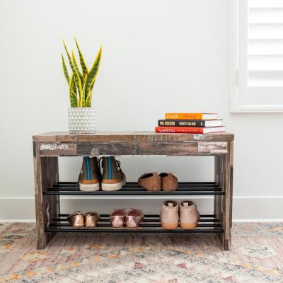 Industrial Distressed Wood Shoe Bench