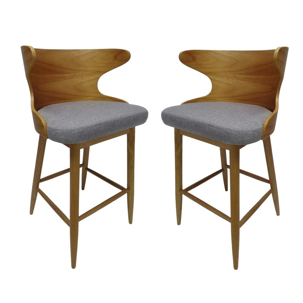 Le House Kamryn Mid Century Modern 30 25 In Natural Wooden Barstools With Light Gray