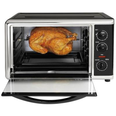 1500 W 12-Slice Black Toaster Oven with Rotisserie
