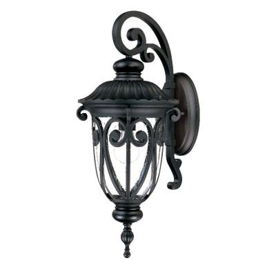 Naples Collection 1-Light Matte Black Outdoor Wall Lantern Sconce