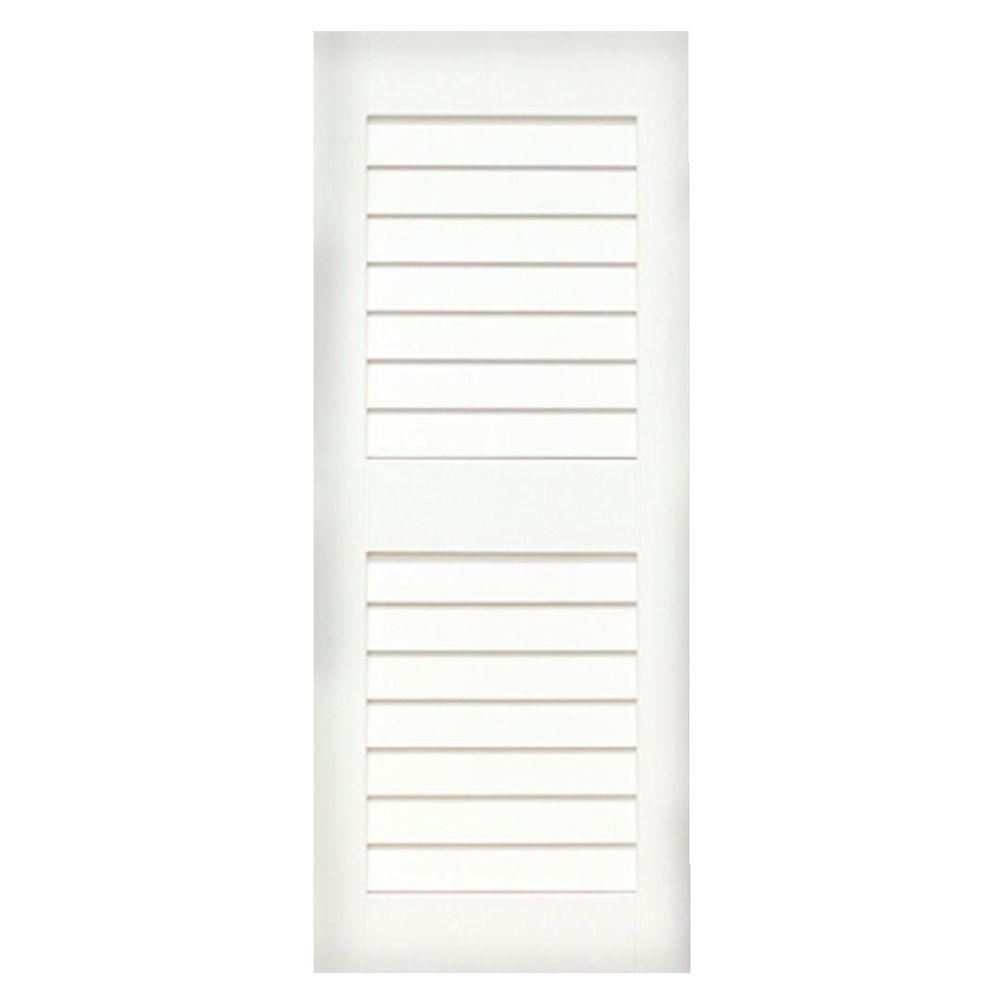 Home Fashion Technologies Plantation 14 in. x 53 in. Solid Wood Louver Exterior Shutters Behr Ultra Pure White-DISCONTINUED