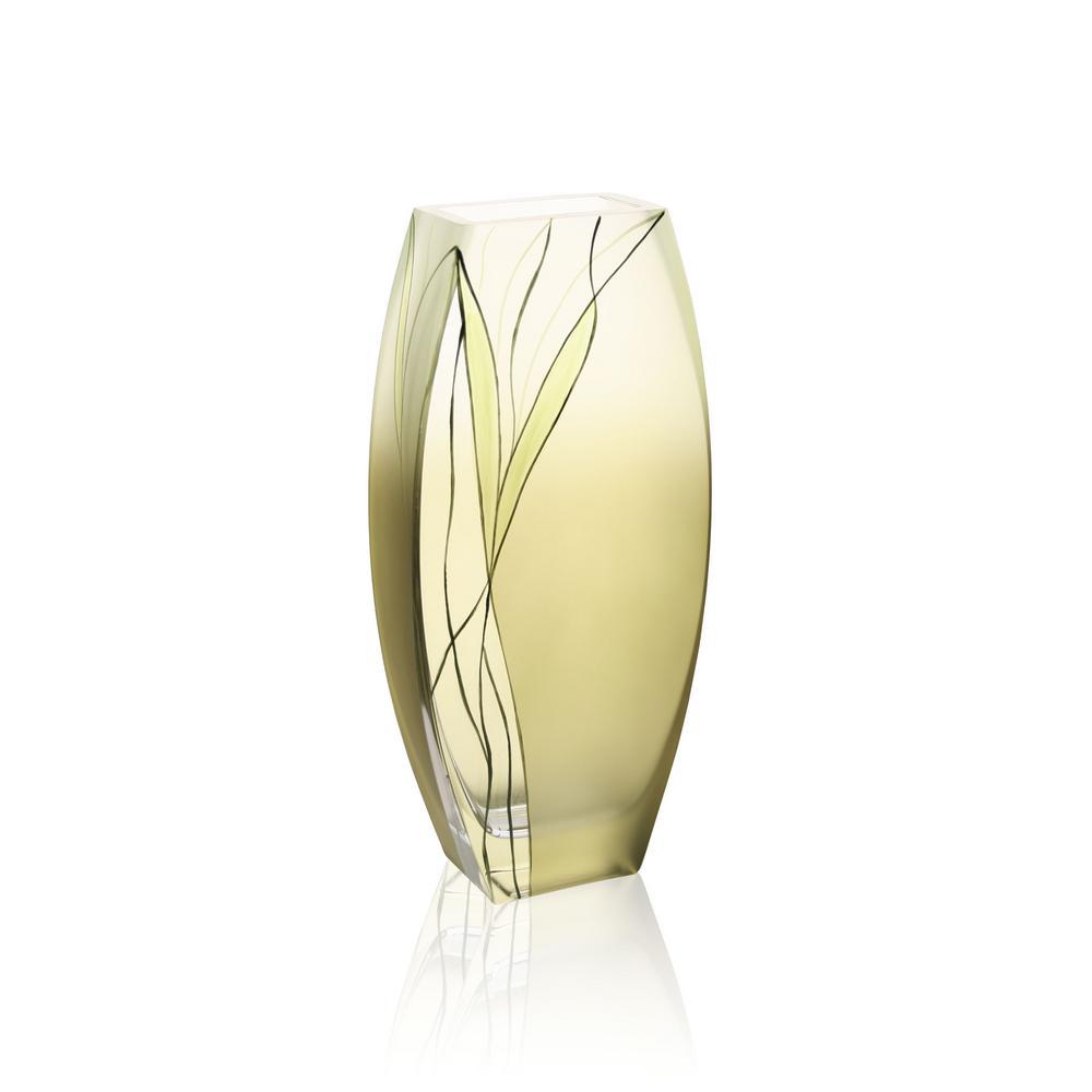 Evergreen 12.5 in. European Design Mouth Blown Decorative Vase
