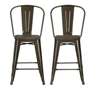 DHP Lena 24 inch Antique Bronze Metal Counter Stool with Wood Seat (Set of 2) by DHP