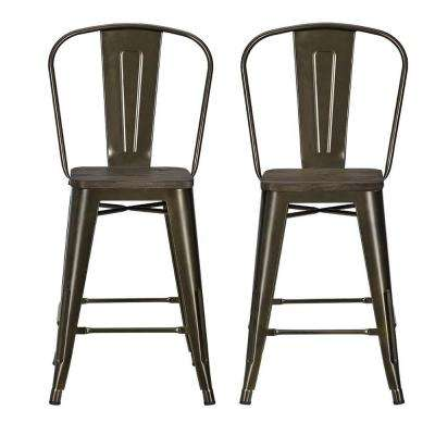 Lena 24 in. Antique Bronze Metal Counter Stool with Wood Seat (Set of 2)