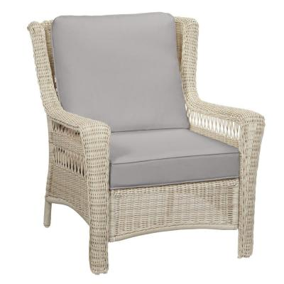 Park Meadows Off-White Wicker Outdoor Patio Lounge Chair with CushionGuard Stone Gray Cushions