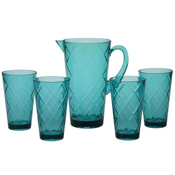 Certified International 5-Piece Teal Drinkware Set