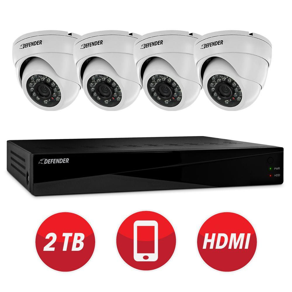 Defender Connected Pro 8-Channel 960H 2TB Surveillance System with (4) 800TVL Camera