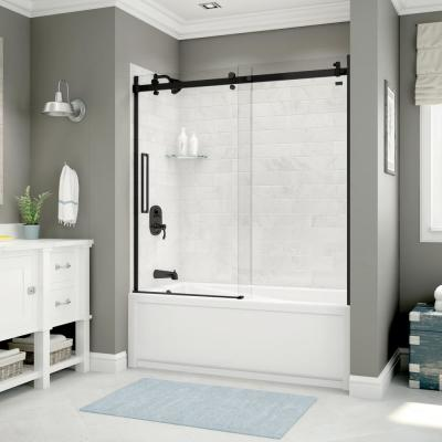 Utile Metro 32 in. x 60 in. x 81 in. Bath and Shower Kit with New Town Left Hand Drain in Marble Carrara
